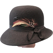 Stylish Lancaster Black 100% Wool Women's/Ladies Hat - c1980s