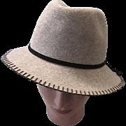 Vintage Designer Felt Wool Grey Fedora Style Women's/Ladies Hat