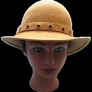 REDUCED Vintage Camel Tan Doeskin 100% Wool Felt Ladies/ Women's Designer Hat  Geo. W. Bollman