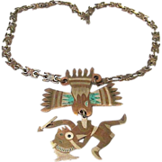 SALE Tremendous 'METALES CASADOS' Handcrafted Eagle and Warrior Pendant Necklace ~ Hecho En Me