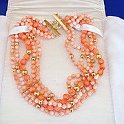 "Antique Art Nouveau RARE 14k 15K Gold Angel Skin Coral 5 Strand Bead Necklace Collar 16"""