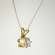 "14k Yellow Gold .27ct Solitaire VS Diamond Pendant Necklace 19.5"""
