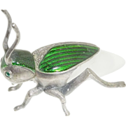 SOLD Vintage Frosted Glass Pewter Guilloche Enamel Grasshopper Locust Perfume Bottle