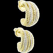 David Yurman 750 18k Yellow Gold Double Row Diamond Cable Huggie Pierced Earrings