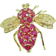 SALE Vintage 14k Yellow Gold encrusted Ruby Figural Insect 3D Bee Pin
