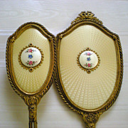 REDUCED Austrian Guilloché Ormolu Dresser Vanity Set