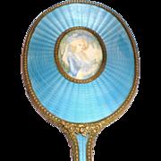 REDUCED Austrian Bronze-Doré Guilloche Hand Mirror with Portrait