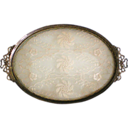 Antique Ormolu Perfume Tray with Lace Inset in the French Style