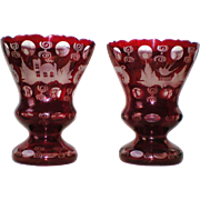 Pair Antique Egermann Ruby Cut to Clear Vases