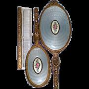 REDUCED Apollo Studios Ormolu Dresser Vanity Set with Guilloché Medallion