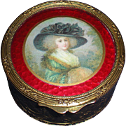 19th Century French Bronze Trinket Box with Portrait Lid