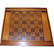 Early Checkerboard with Inlaid Squares Complete with Checkers