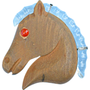 Lucite /Wood Horse Pin