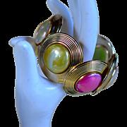 Lucite Disc Clamper Bracelet
