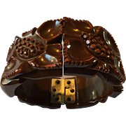 Carved Bakelite Clamper Bracelet
