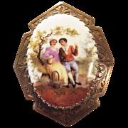 Vintage brass brooch porcelain painted portrait