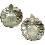 Outstanding  pair of 950 Sterling 1864 &1865 Footed Coin Ash trays with Coat of ...