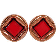 Renior Matisse Copper Earrings with Red Enamel clip