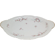 """Antique Theodore Haviland Liomoges LAMBELLE Blue Ribbons and Pink Roses 1903 16"""" Platter"""
