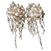 SALE Pretty Pale Pink & Blush  Bead Large Cha Cha Cha Clip Earrings