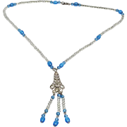 Sterling Glass Bead Art Deco petite necklace C.S.S. Co