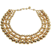 Egyptian style gold tone steel bead and gold bead collar choker necklace