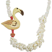 SALE Summer Fun Flamingo and shell choker necklace
