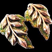 """Renoir Matisse Copper Enamel and Leaf """"Laurel"""" earrings"""