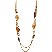 Alice Caviness Enamel Leaves double strand Gold Tone Necklace  Lovely!
