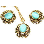 "SArah Coventry ""Czarina"" Turquoise Glass Cabochon pendant and earring set 1970's"