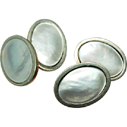 Stunning Mother of Pearl MOP 10K Yellow Gold double Cuff links