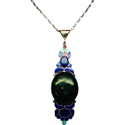 Massive Middle Eastern Sterling Pendant Necklace with Lapis Coral Turquoise and Huge Spinage .
