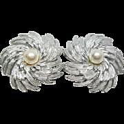 "SARA COVENTRY ""Pinwheel"" Clip Earrings Simulated Pearls & Silver Plate"