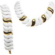 "Outstanding Napier White Enamel and Gold Tone Bracelet and Naecklace Set ""Vera Cruz"""