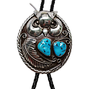 Amazing older Sterling and Turquoise OWL Bolo