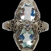 18k Art Deco Aquamarine White Gold Filigree ring