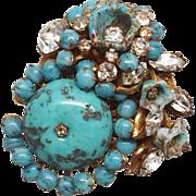 Miriam Haskell Blue Bead and Rhinestones pin / brooch Horseshoe Signature