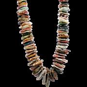Amazing Southwestern Runway 106 Natural Stone Necklace Jade, Agate, Jasper Arrowhead Blanks