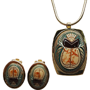 Whiting & Davis Egyptian Revival Scarab Necklace & Earrings