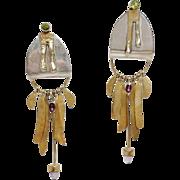 Modernist Designer long Dangle Sterling Silver Earrings  Amethyst, Peridot, Sterling, Brass