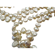 14k gold  clasp on 38 Inch Vintage Fresh Water Pearl Necklace