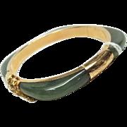 Vintage JADE & 14k Gold hinged Bangle Bracelet Floral Engraved Accent