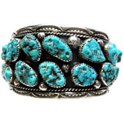 Vintage Huge 17 Stone Turquoise Silver Cuff Bracelet Signed Artisan Navajo