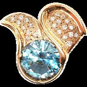 Custom 23.59ct Natural Blue Topaz 14K Pendant necklace 22 diamonds 7077.00 Appraisal