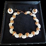 Matisse White Sea foam Copper Set Earrings Necklace