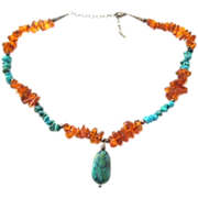 Wonderful baltic amber Turquoise sterling necklace