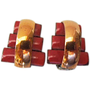 Matisse Copper and Red enamel step style Modernist earrings