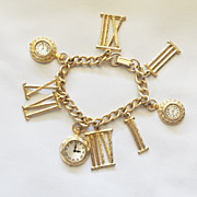 SALE For the Love of Time - Fun Charm bracelet with faux time clocks and Roman Numbers