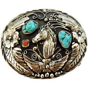 SOLD Signed S.S.I. Southwest Handcrafted USA made Turquoise, Coral Horse Belt Buckle