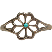 Vintage Sterling Silver & Turquoise Child's Handcrafted Southwestern Cuff Bracelet